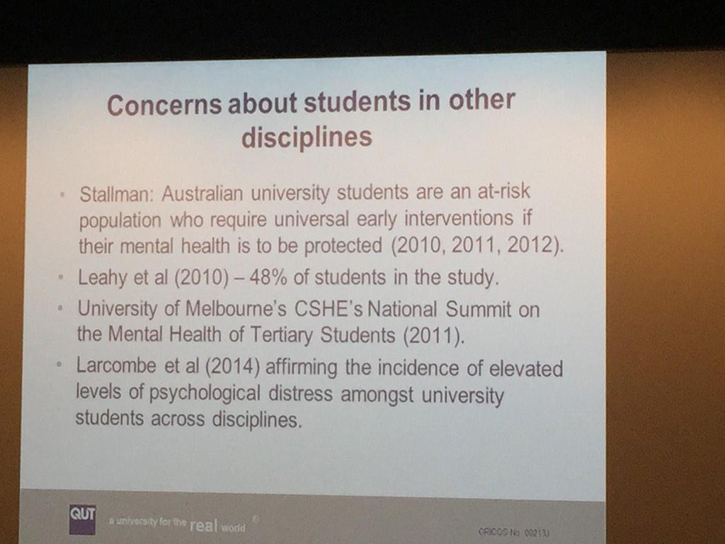 Field: there are also concerns about mental health of Uni students, other than just in law #wellnessforlaw http://t.co/v7VdiF8x2C