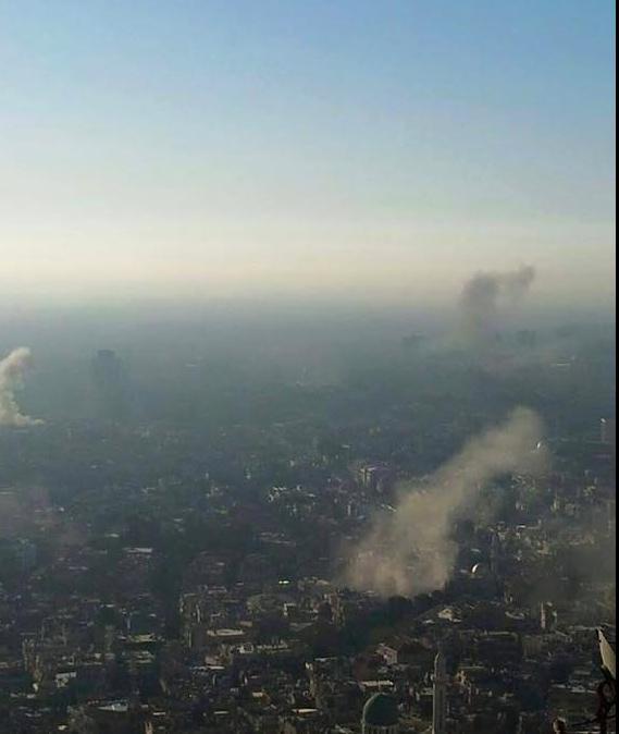 قصف العاصمة السورية دمشق صباح اليوم