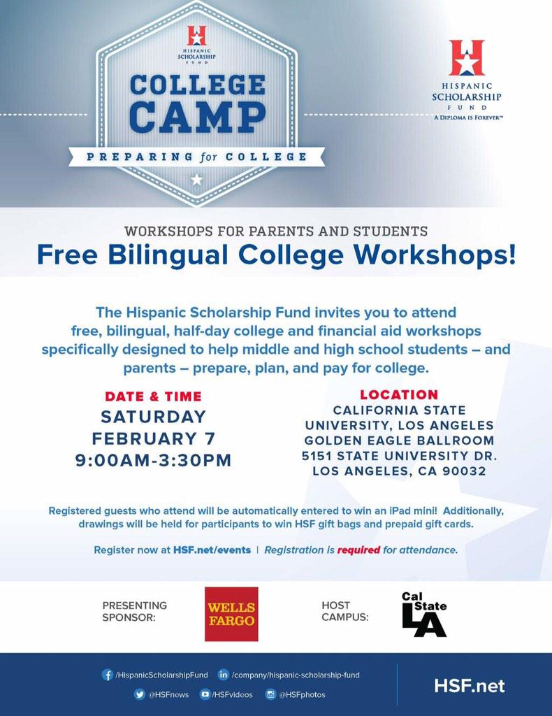 Free bilingual college workshops at @CalStateLA this Saturday! Register today: https://t.co/JEaJJtht28 #CollegeCamp http://t.co/JCmu1HZWVd