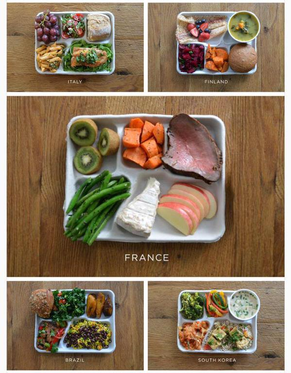 School lunches around the world. Much better when compared to the USA food. More under here: #ThanksMichelleObama http://t.co/bZEC7O3C26