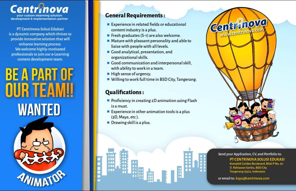 Lowongan kerja Flash Developer, Animator, Content Writer dan Illustrator..Ayo cepat kirim CV & portfoliomu.. @kreavi