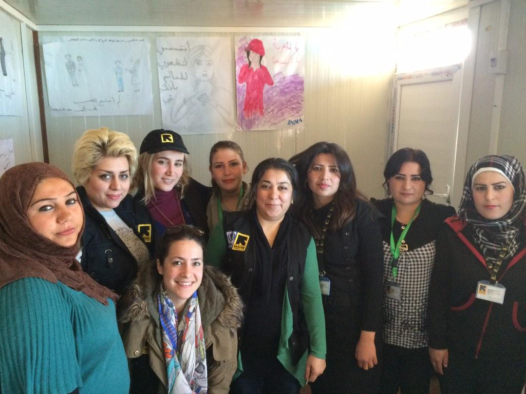 The ladies of @theIRC's women ctr. They run activities and counceling for women #syria #iraq http://t.co/JBOHRMRTQ6