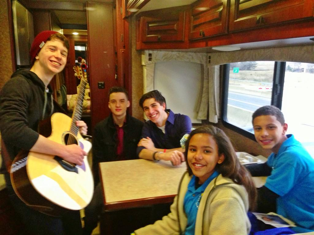 Shenanigans on my tour bus on our way to Alice Deal Middle! #GreatDay #BullyingNoWay! #YouMatter #BradyBrothers http://t.co/F9aooPrCJQ