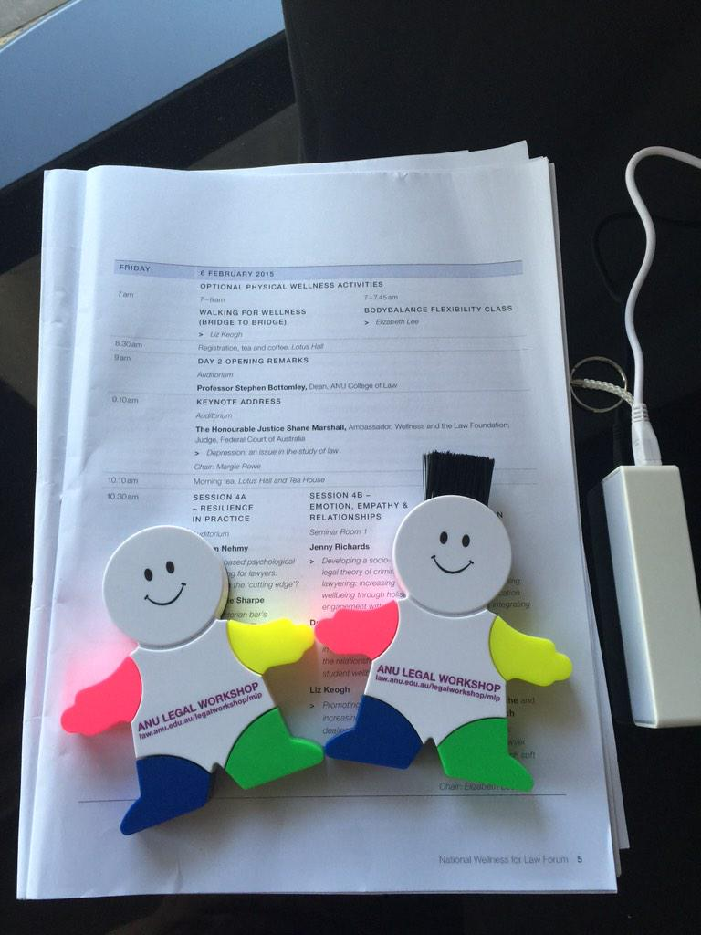 Ready for day 2 of @WellnessForLaw forum: Program,✔️. Highlighters, ✔️. New battery charger,✔️. #wellnessforlaw http://t.co/Vyw20zfkrd