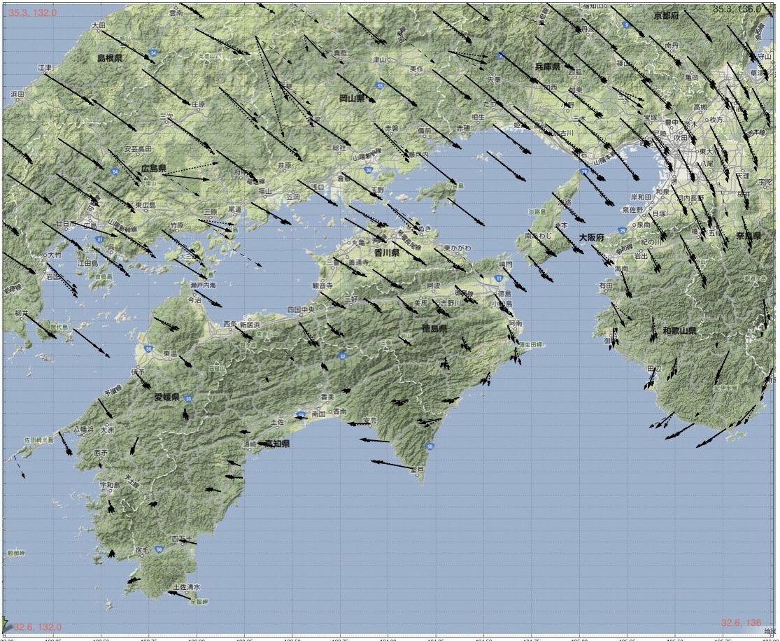 徳島県南部の地震、添付図から見ると GPS_Vの方向がSからWへ変化する領域で起こった。多分NE-SWが断層面で右横ずれ。https://t.co/yc9f2lXeYN … の場合と同様に説明できそう。 http://t.co/ILOFOdRuzu