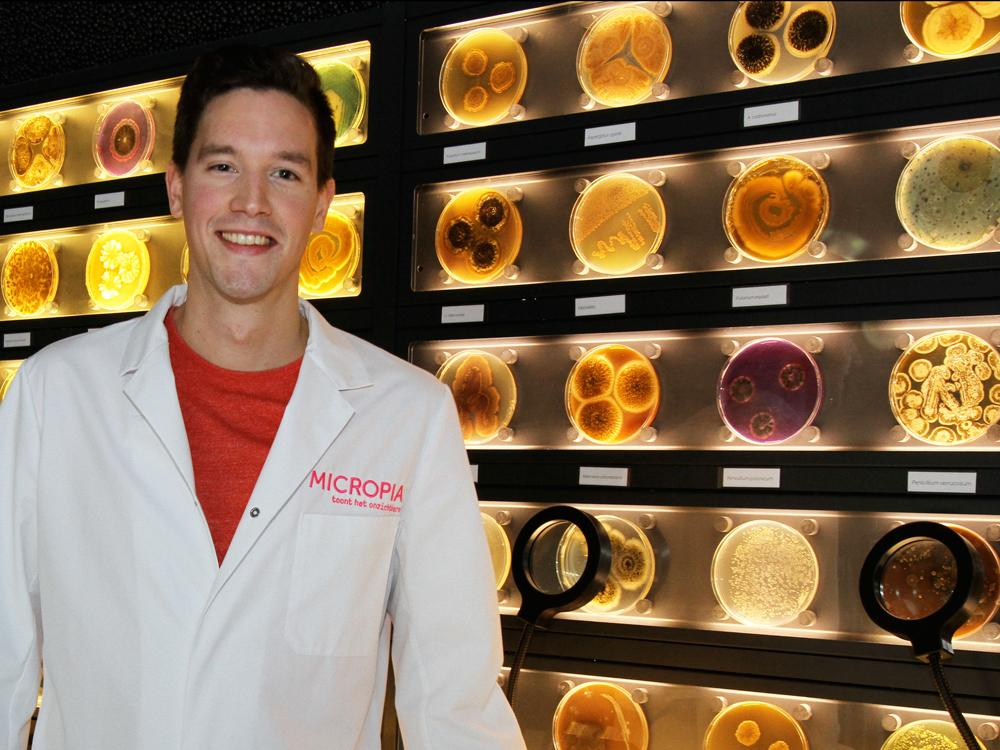 Jasper Buikx, microbiologist at the Micropia Museum, in Amsterdam.