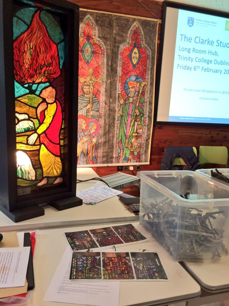 Now Muriel Ryan from Abbey Stained Glass Studios on design & manufacture of new stained glass windows #ClarkeStudios http://t.co/5o1VB8ne8V