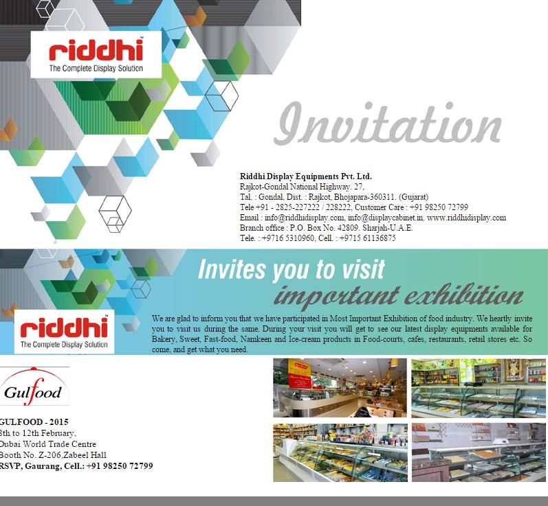 Riddhi display on twitter we are cordially invite you to visit riddhi display on twitter we are cordially invite you to visit your stall at gulffood exhibition 2015 httptjk7beyy1iv stopboris Choice Image