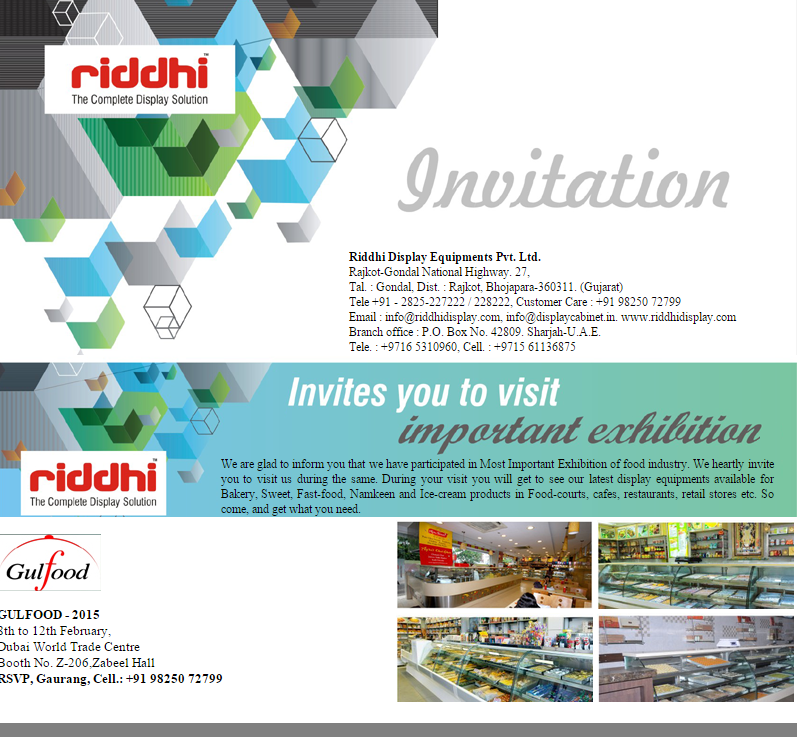 Riddhi display on twitter we are cordially invite you to visit riddhi display on twitter we are cordially invite you to visit your stall at gulffood exhibition 2015 httptjk7beyy1iv stopboris Images