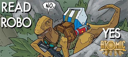 New issue of Atomic Robo is online. First appearance of @Dr_Dinosaur! Read it here http://t.co/7tGIFqtpeq #hiveworks http://t.co/4bN4SktExX