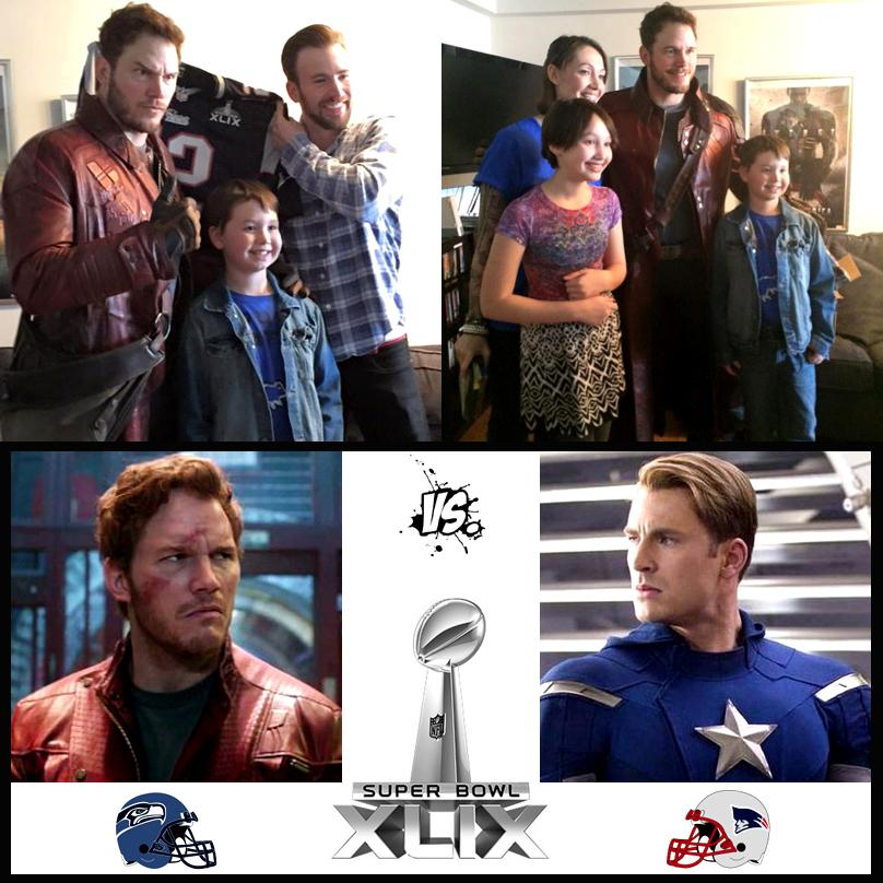 .@prattprattpratt honours #SuperBowl bet with @ChrisEvans by visiting @chris_haven as #Starlord! #Marvel #twitterbowl http://t.co/RiUo1yzNxR