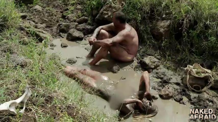 Nudist mud bath