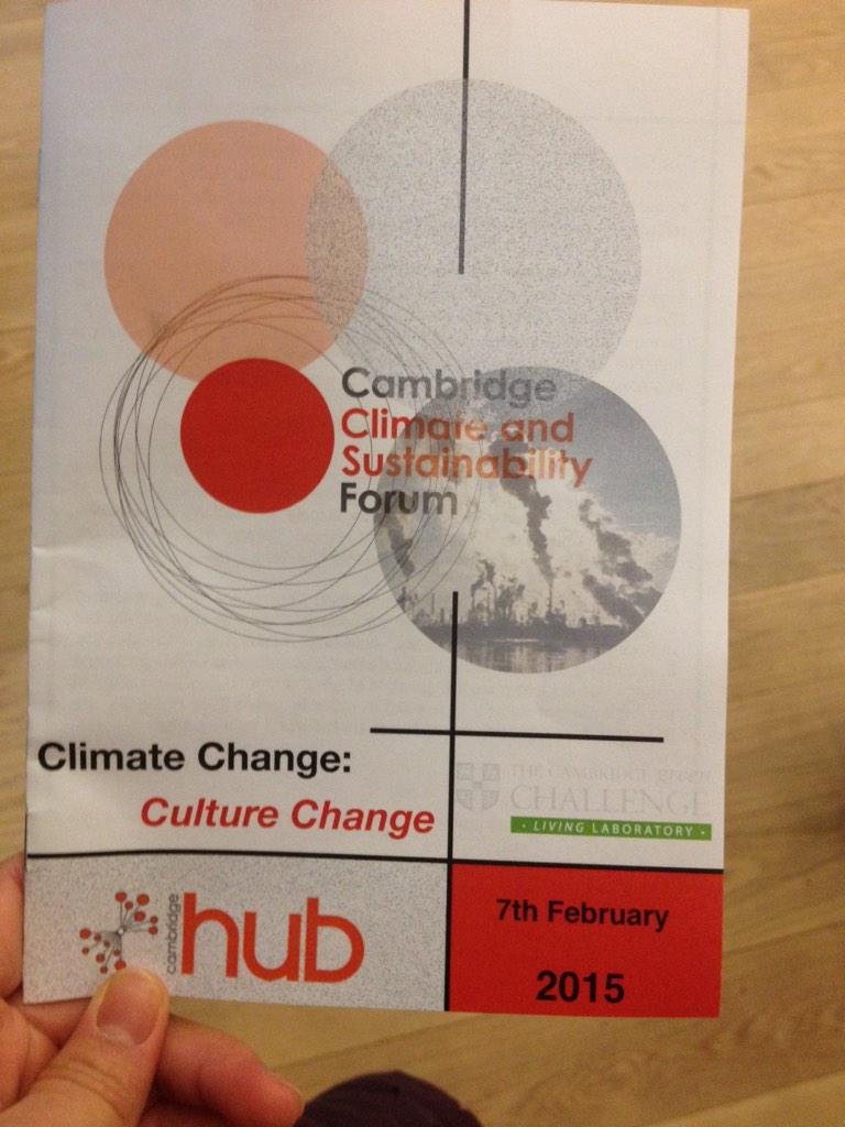 "Psyched! ""Climate change, culture change"" theme for the Cambridge climate & sustainability forum 2015. #CCSF2015 http://t.co/zUMw2WvGnf"