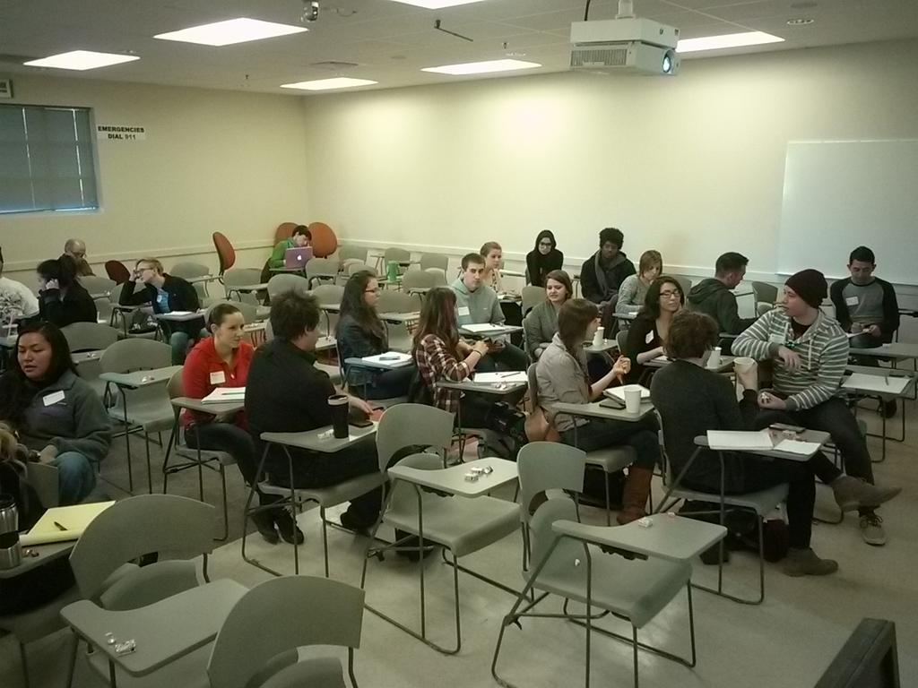 Round 1 at #lobocamp, discussing out-of-box thinking for generating story ideas. http://t.co/0T7QZmRWUt