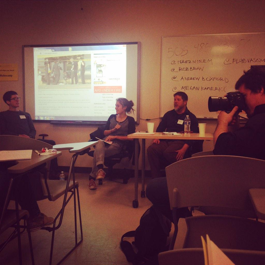 Learning about breaking news (daily/weekly) and first hand experience =excellent panel. #lobocamp http://t.co/dwKsYq9eNm