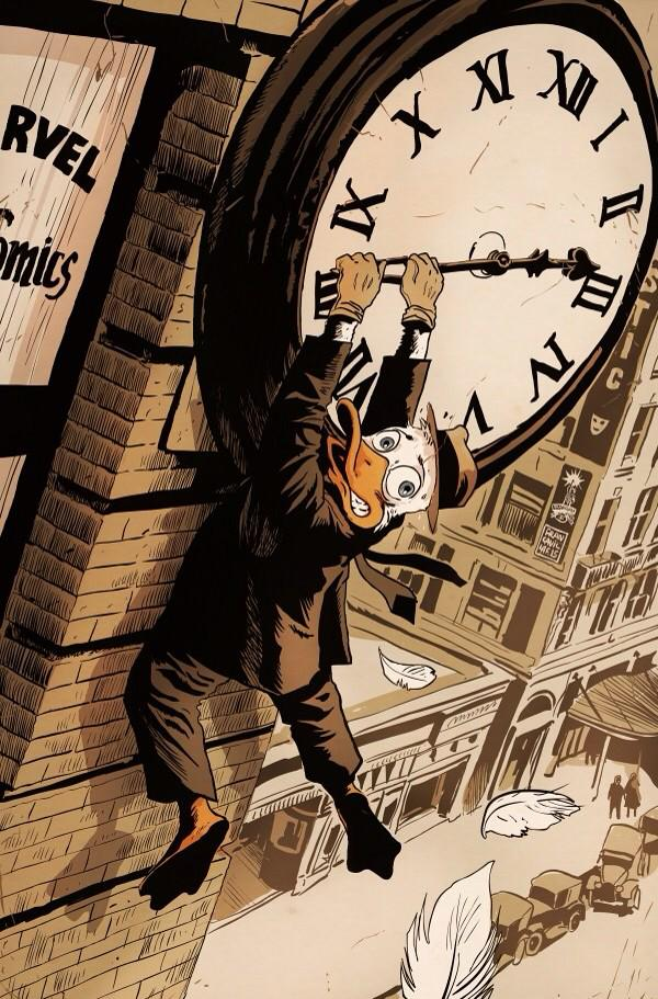 "Oh man, @f_francavilla's ""Safety Last"" homage cover for All-New Hawkeye is awesome.   Also, Howard The Duck... http://t.co/HfqzOYNk8y"