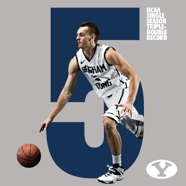CONGRATS to @bigrussia5 on his NCAA Record 5th Triple-Double of the season!! #BYUhoops #TripleDouble http://t.co/x25PJQP5dc