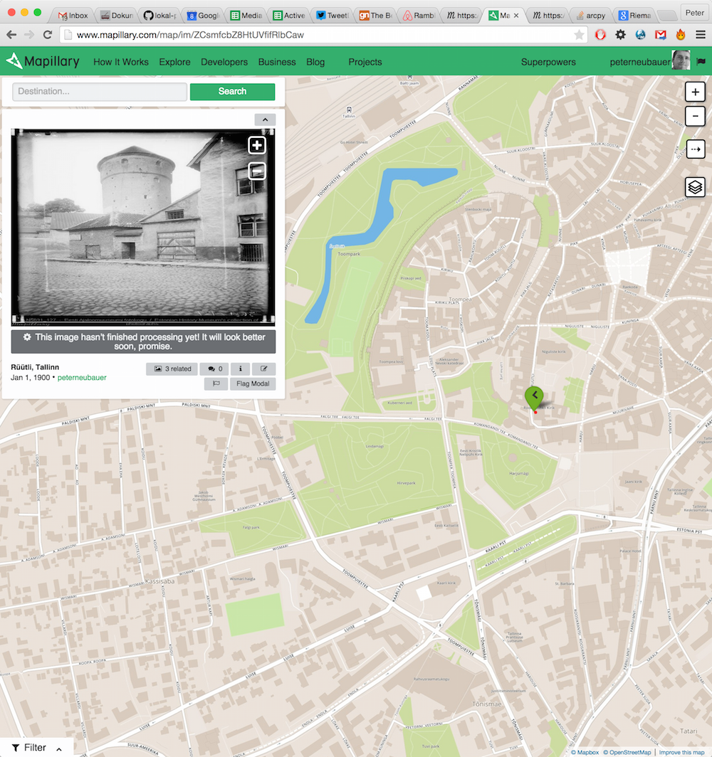 Getting old Tallin street photos from 1900 through @ajapaik into @mapillary. More archives to come! #hack4fi #in http://t.co/34XU9E64oD