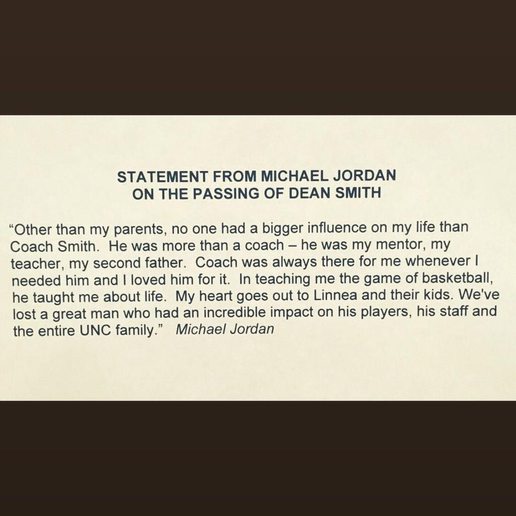 Michael Jordan statement on the passing of Dean Smith. http://t.co/zvNgIniu30
