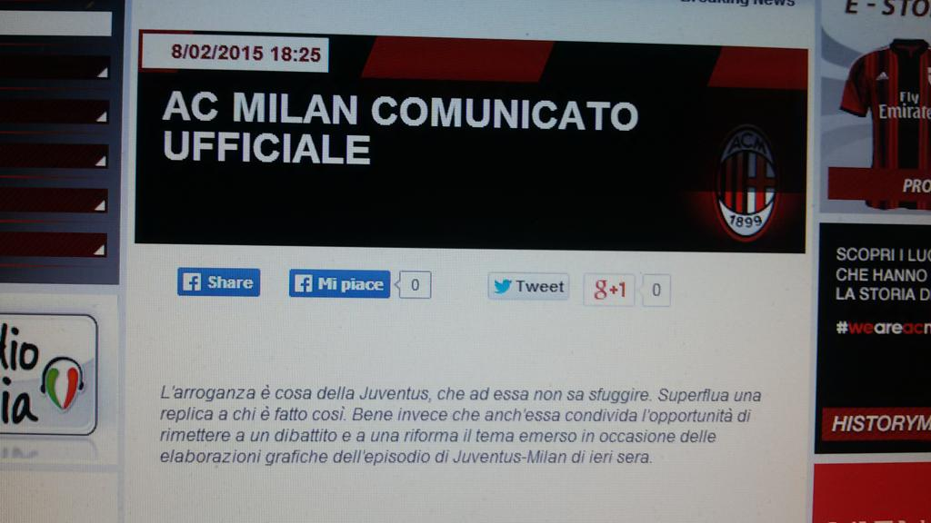 "Juve-Milan, dal club rossonero: ""L'arroganza è cosa della Juventus"""