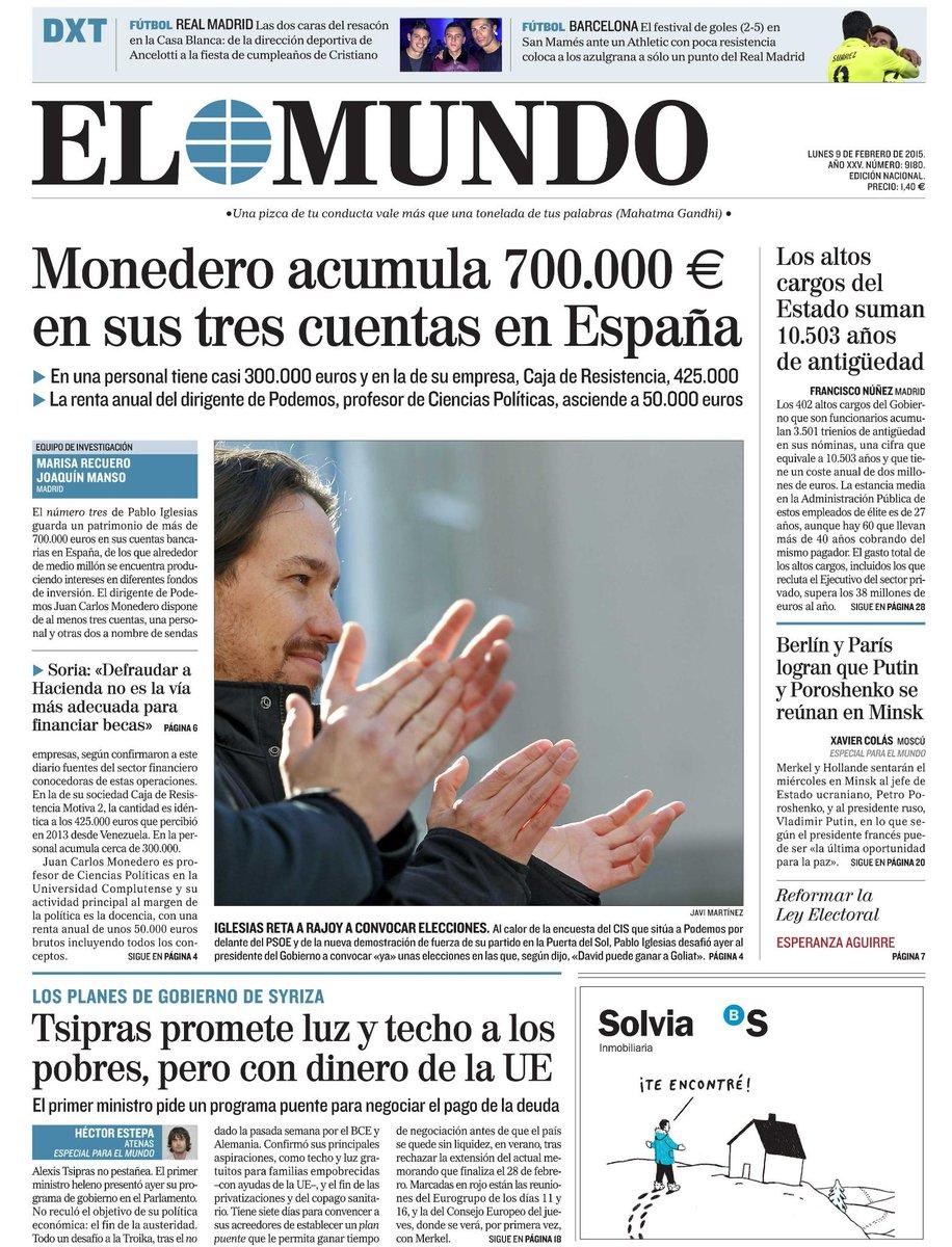 La portada de EL MUNDO de mañana http://t.co/2n4kyFqtxc