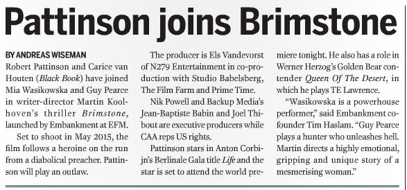 BAM RT @cinemonkey: @Screendaily meldt dat Robert Pattinson en @caricevhouten zijn gecast voor @BrimstoneMovie  http://t.co/4BcL9bvA4n