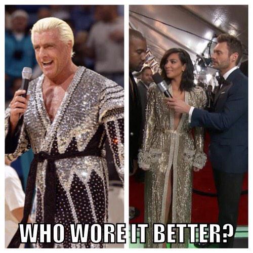 I KNEW I recognized Kim Kardashian's #GrammysRedCarpet outfit! @RicFlairNatrBoy #Grammy2015 http://t.co/f0iHwMAIGI
