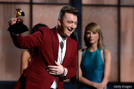 """""""Thank you so much for breaking my heart because you got me four #Grammys."""" #SamSmith http://t.co/JBaujo0phY http://t.co/D3PFsTi4nj"""