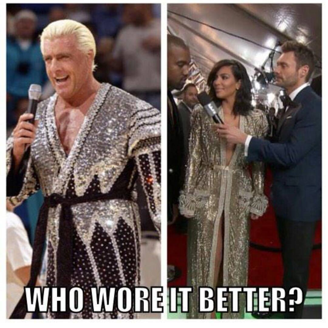 Who wore it better, @RicFlairNatrBoy or @KimKardashian? #GRAMMYs http://t.co/OXzw7nnbXM