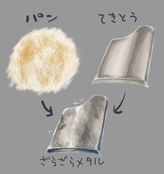 ワカメフリルとはぜんぜん違うけど、金属の鎧とかの質感をつけるのに、パンの断面のテクスチャをずっと使ってるです http://t.co/AM6M0mVFlr