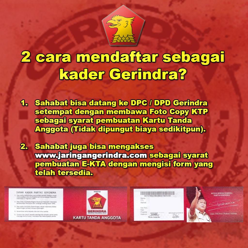 Partai Gerindra Sur Twitter Inichusni Wisnuaramadi Selamat Malam 2 Cara Tersebut Hanyalah Syarat Untuk Mendapatkan Kartu Tanda Anggota
