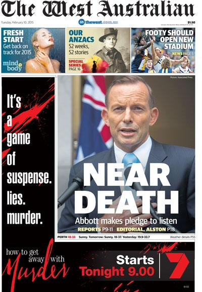 Rather unfortunate front page on the West Australian.  http://t.co/pgYI0sADZk