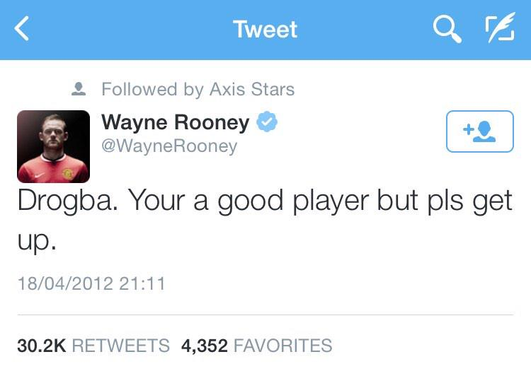 Funny what @WayneRooney wrote here on @twitter sometime ago to @didierdrogba