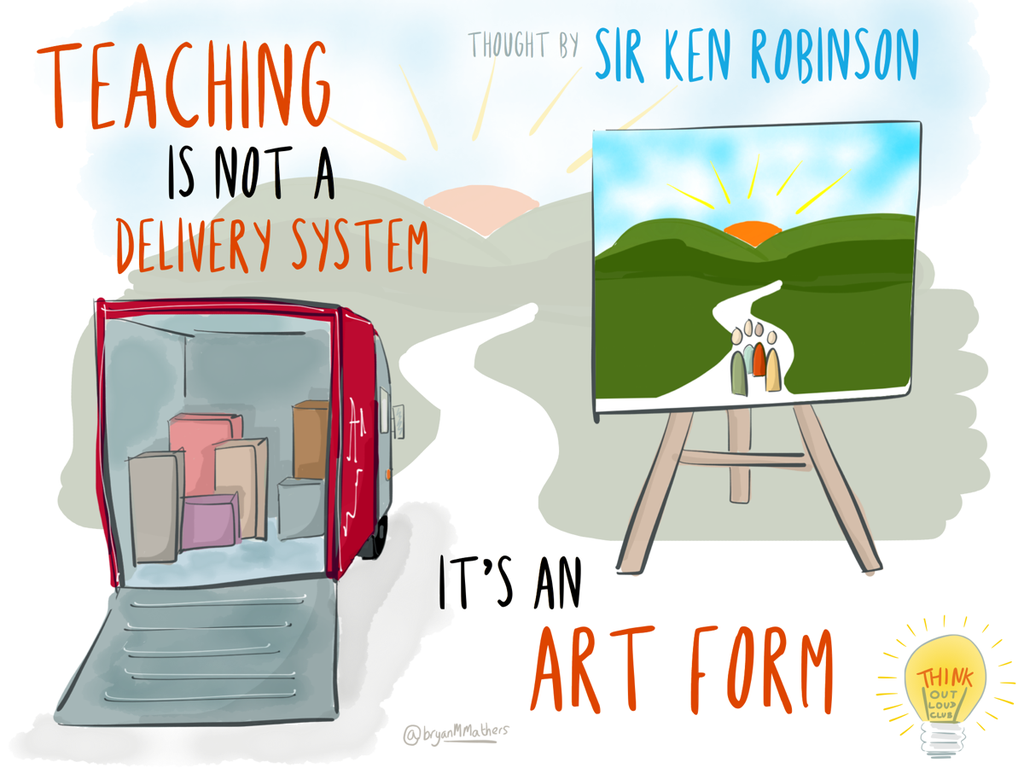 """Teaching is not a delivery system, it's an art form."" -Sir Ken Robinson #quote http://t.co/DbITL0ZVQd http://t.co/hFpCNBoRTg"