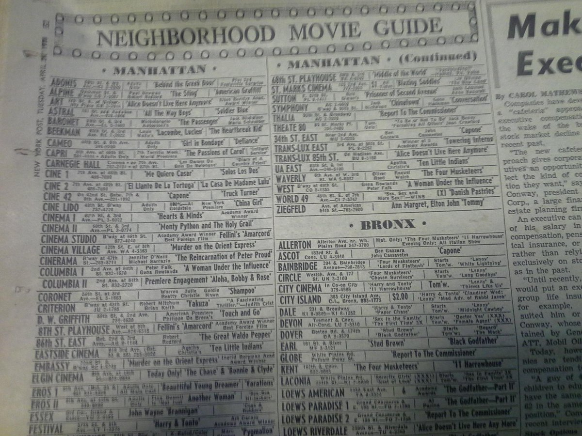 April 1975 movie guide in @nypost lists 64 Manhattan movie theaters, only six of which still exist. http://t.co/AMUZGSW4jS