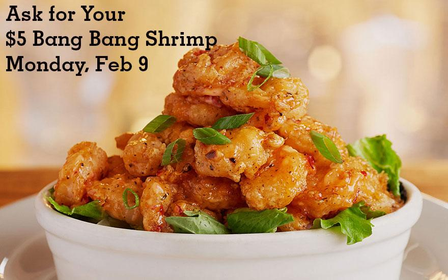Happy Monday! #bangbangshrimp is $5 tonight http://t.co/5RpCLB6mdI