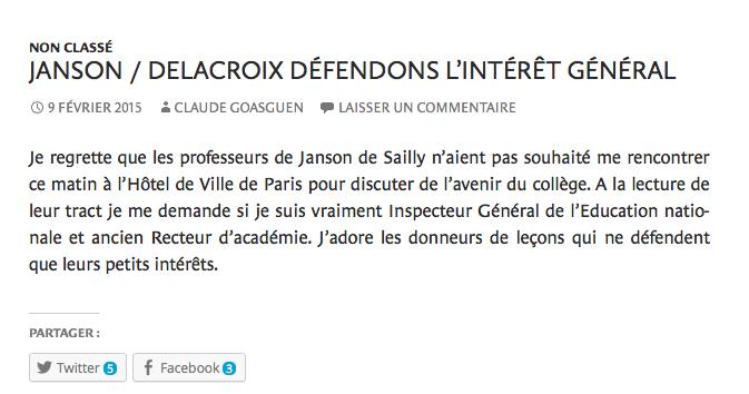 Claude Goasguen (UMP) rappelle aux enseignants du collège Janson de Sailly qu'il a été recteur et IGEN. B9aH6sTIQAARuCR