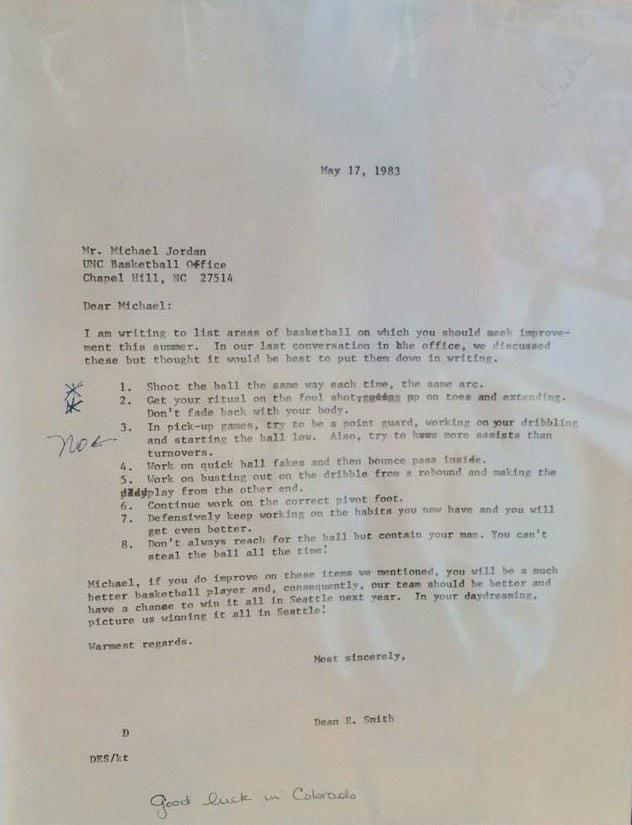 Grant Wahl On Twitter Love This Letter From Dean Smith