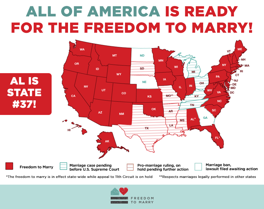 MOMENTUM: #Alabama is 37th state with the freedom to marry! Retweet to celebrate! http://t.co/dbdQ3C9ML3 #ALMarriage http://t.co/RIcOWavqdn