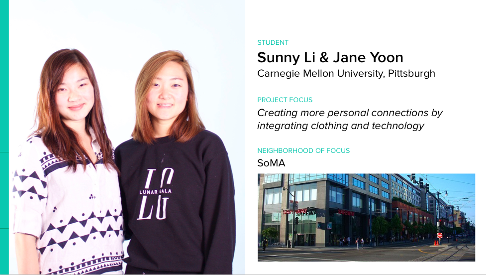 Sunny Li & Jane Yoon are refining their communicative-clothing prototypes for the #wearablecity Design Challenge. http://t.co/LSxlCF8NWE