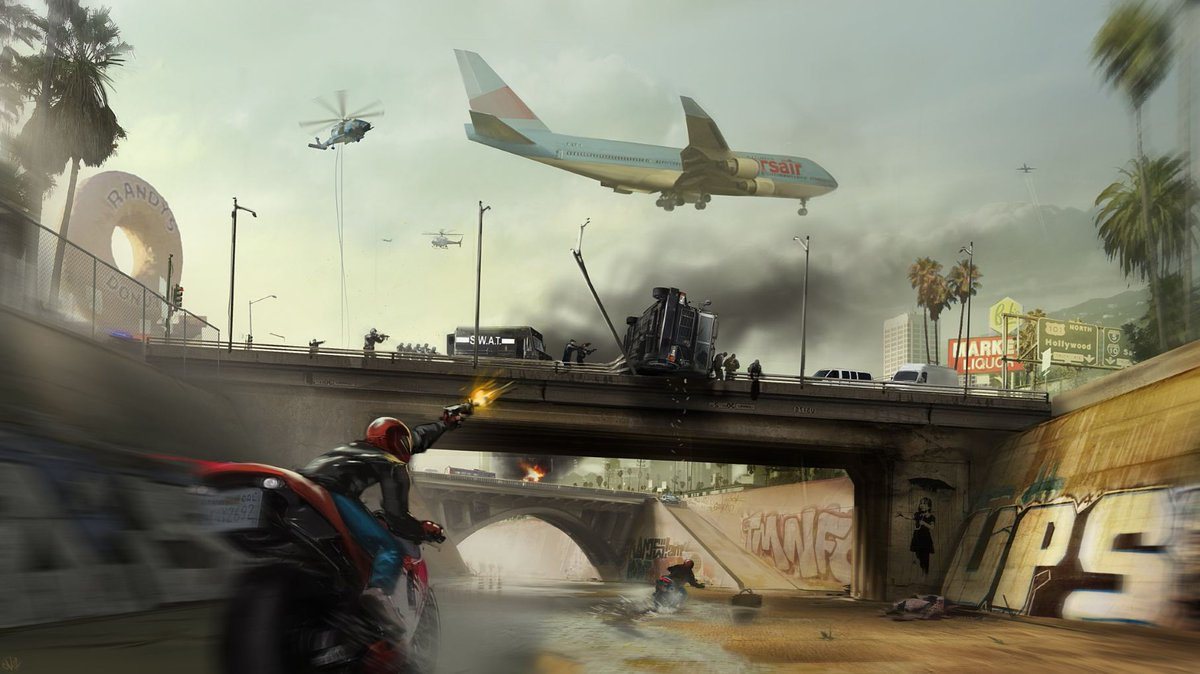 This was the first piece of concept art ever done for Battlefield Hardline by @theOKartist, three years ago. http://t.co/XyAOQS9xMz