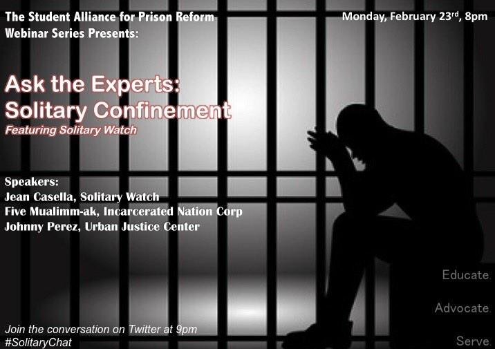 Join SAPR for our webinar Feb 23rd 8PM ft. @solitarywatch @MrJohnnyPerez  @MRFIVEINC & @princetonSPEAR! #solitarychat http://t.co/psilqQ4FT3