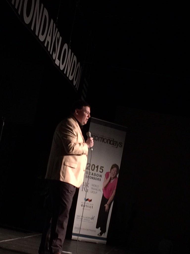 Audience laughing with Andrew as he takes a humorous look at recovering from his stroke. @AndrewLawton http://t.co/5IOwxOic3o
