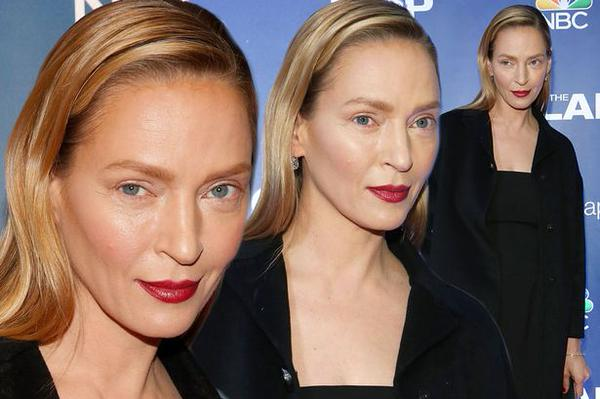 Uma Thurman após a atriz se submeter a cirurgia plástica.