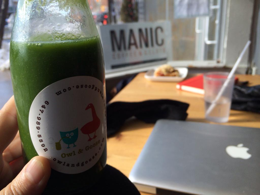 Good morning @OwlAndGoose @ManicCoffee! Juicing up for a heavy work session for Friday's #LEANARTS pitch party! http://t.co/gwaKbwTqxg