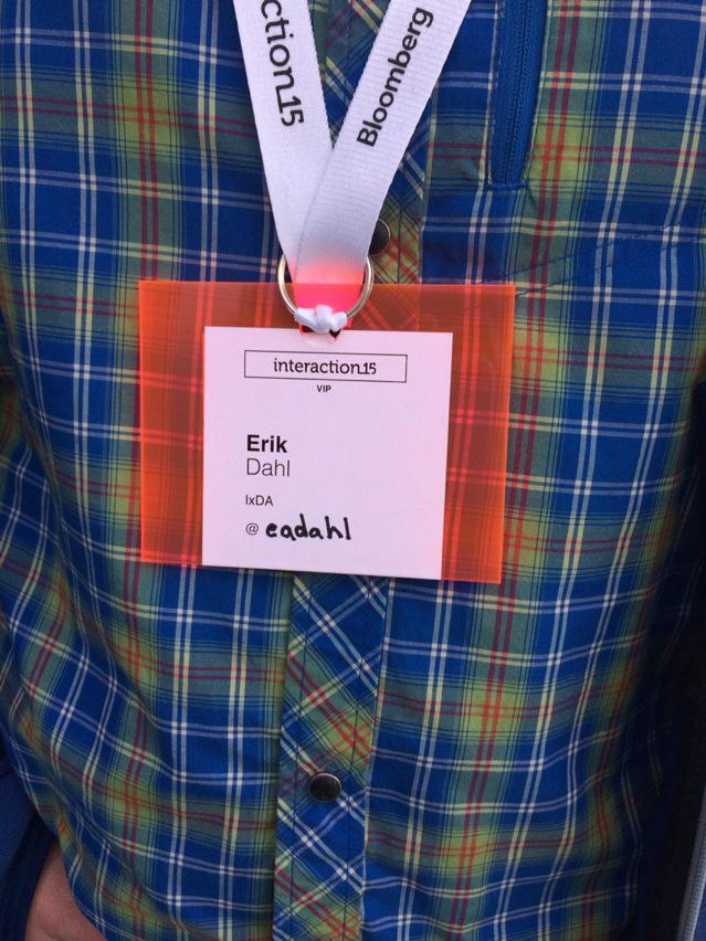 Attn #ixd15! This innovation keeps your badge neat and flat. @eadahl will provide instruction for reasonable fee. http://t.co/2Y2NlJD5nd