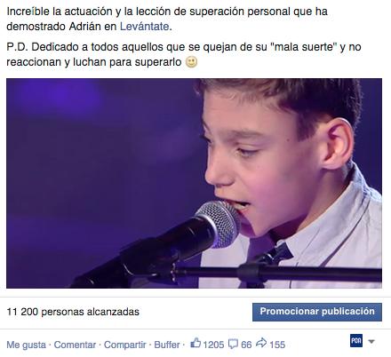 La actuación de #Adrian ha llegado al corazón de todo el mundo! Increíble! Alucinante! ¡Bravo! #levantate1 http://t.co/4LvBzNd1Qx