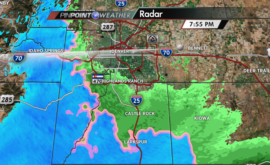 Snow already falling in locations southwest of Denver, mainly in locations above 7500 and 8000 feet.  #cowx http://t.co/rzziFR6g8g