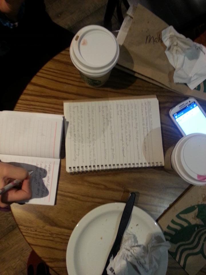 Prepping for the interview admist a hearty Starbucks breakfast. Because breakfast is for champions! :-) #desent15 http://t.co/0HepMvVDjW