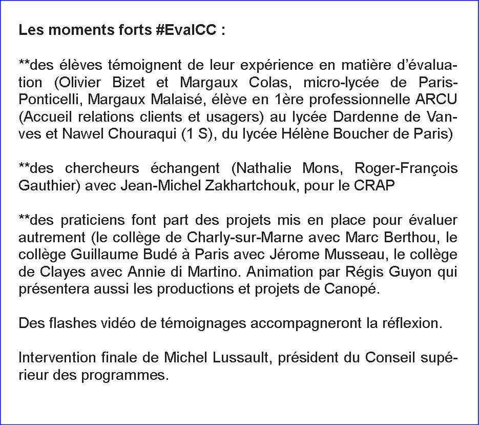 """Les Moments forts de """"Pour une évaluation plus juste"""" des @CahiersPedago #EvalCC http://t.co/mLBoX1ZZPi"""